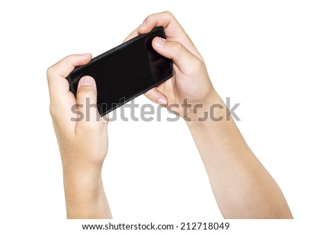 Two hands holding smartphone, isolated - stock photo