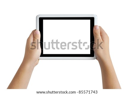 Two hands holding tablet PC, playing games, clipping path - stock photo