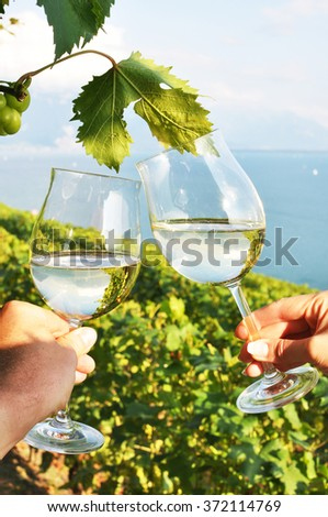 Two hands holding wineglasses against Geneva lake. Lavaux region, Switzerland