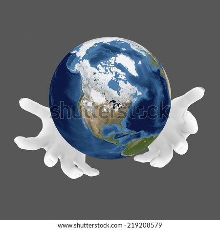 Two hands holds planet earth. Earth care concept. Elements of this image furnished by NASA - stock photo