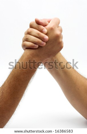 two hands in fight background - stock photo