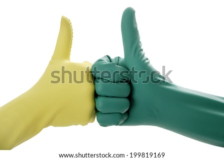 Two hands in rubber gloves gesturing OK - stock photo