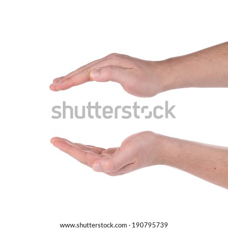 Two hands. Isolated on the white background. - stock photo