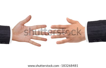 Two hands isolated on white background - stock photo