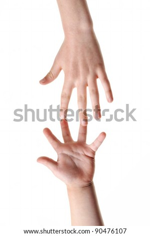 Two hands isolated on white background - symbol for help. - stock photo