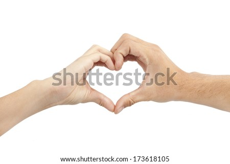 two hands make heart shape on white background - stock photo