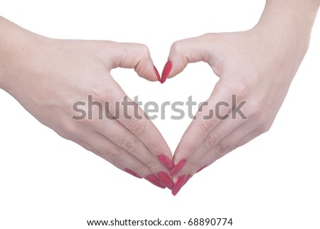 Two hands making heart - stock photo