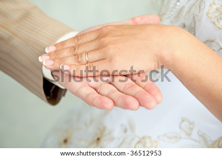 Two hands, man's and female, with wedding rings