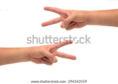 two hands of a man as showing for signs or symbols isolated on white