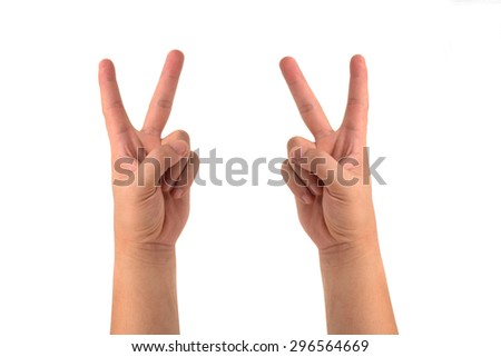 two hands of a man as showing for signs or symbols isolated on white - stock photo