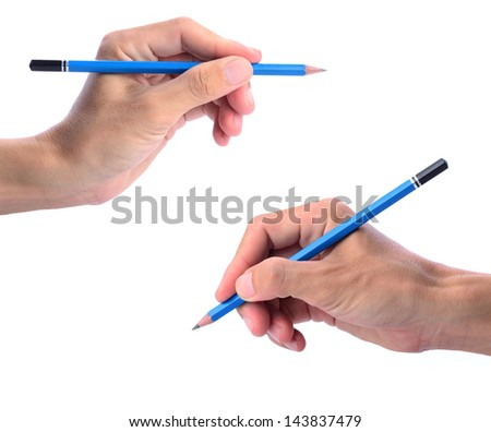 Two hands of man holding pencil isolated on white