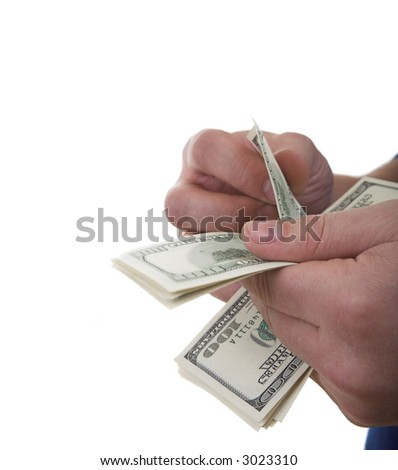 Two hands of the man counting money isolated - stock photo