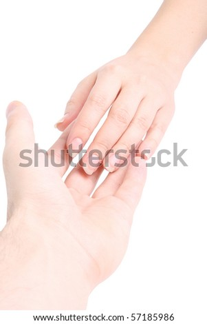 Two hands on white background (isolated, clipping path)