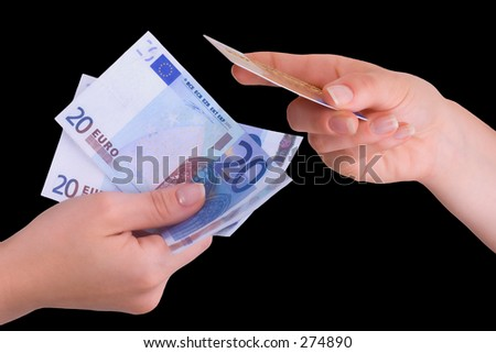Two hands, one holding Euros, the other holding a credit card.