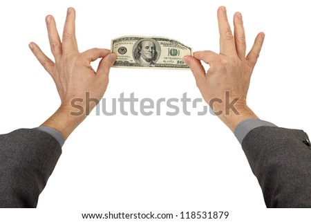 Two Hands Pinch and Stretch a 100 Dollar Bill isolated on white - stock photo