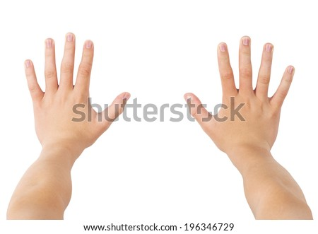 Two hands pushing forward, isolated on white, clipping path - stock photo
