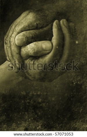 two hands shaking in retro design look - stock photo