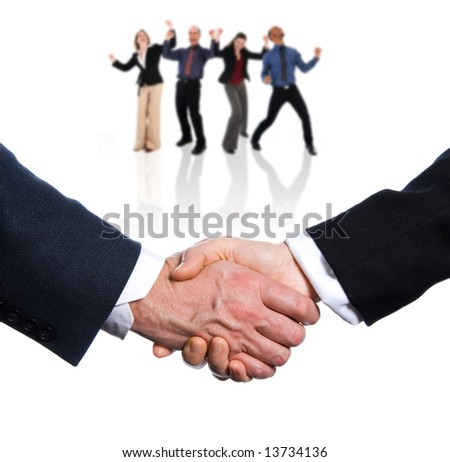 two hands shaking on a white background - stock photo