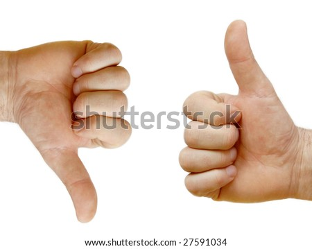 Two hands showing opposite signs isolated over white
