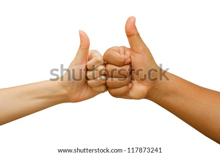 Two hands showing thumbs up sign on white background - stock photo