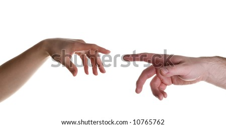 two hands stylized for michelangelo's creation mural - stock photo