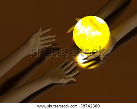 Two hands that transmit yellow Glowing Globe. On dark background