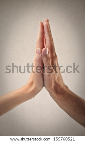 two hands together - stock photo