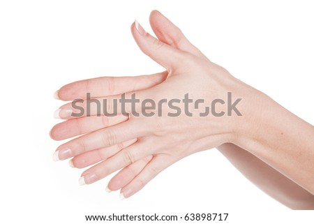 Two hands together all fingers showing. - stock photo