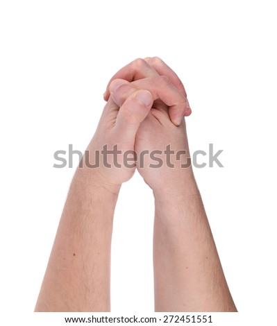 Two hands together. Isolated on a white background.