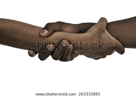Two hands united - stock photo