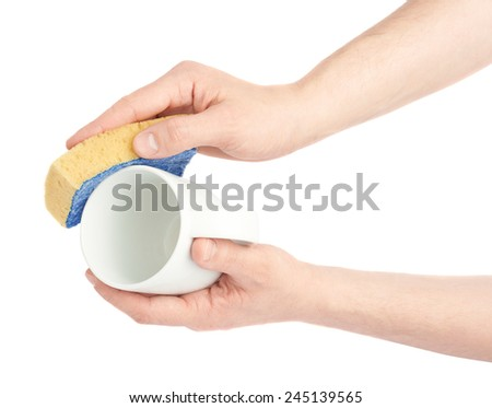 Two hands washing white cup with the sponge, close-up composition isolated over the white background - stock photo