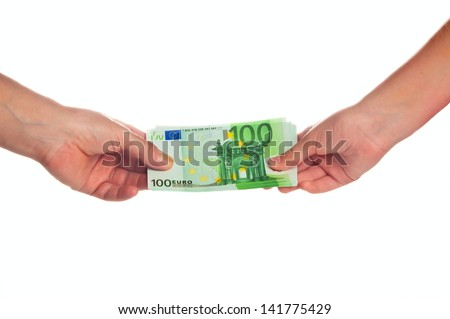 Two hands with euro bills on white background
