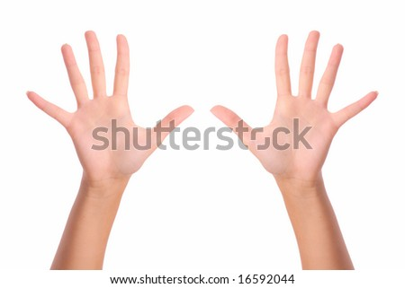 Two hands with open palms isolated on pure white background. - stock photo