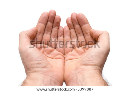 Two hands with palms up, isolated on white background - stock photo
