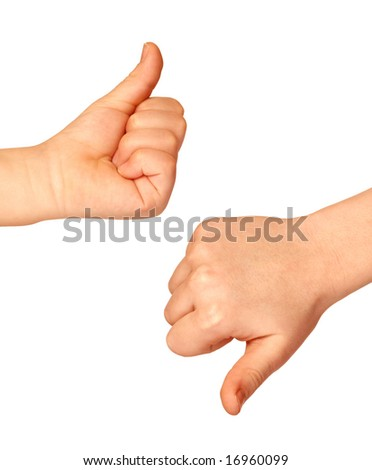 Two hands with thumbs up and down on white background - stock photo