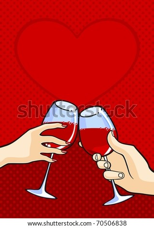 Two hands with wine (raster version) - stock photo