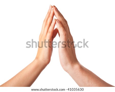Two hands:  woman and man. Isolated on white background - stock photo