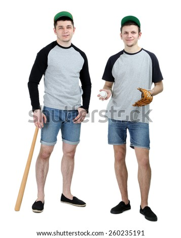Two handsome young men with bat and glove for baseball isolated on white - stock photo