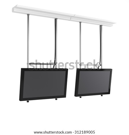 two hanging tv displays from side view - stock photo