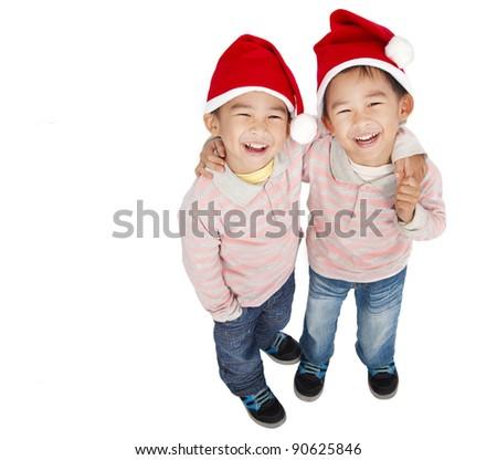 two happy asian boys - stock photo