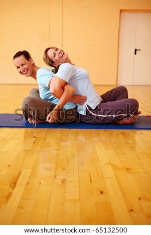 Two happy Best Ager doing back exercises in gym - stock photo