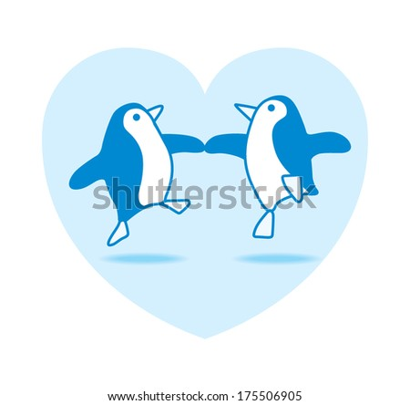 Two Happy Blue Penguins Dancing in a Blue Heart on White Background - Raster