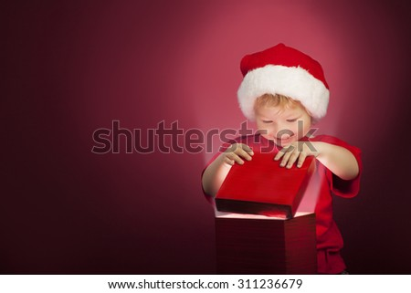 two happy boy open christmas gift-box - stock photo