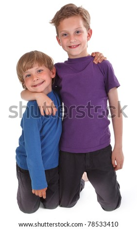 two happy brothers against white background