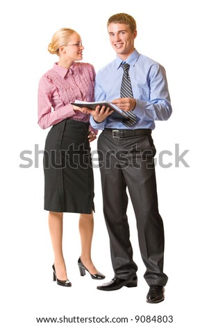 Two happy business people, isolated on white - stock photo