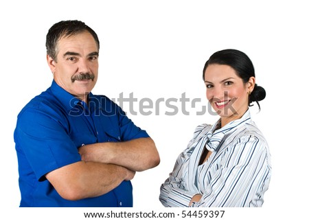 Two happy business people mature and young standing with hands crossed in front of image and smiling isolated on white background