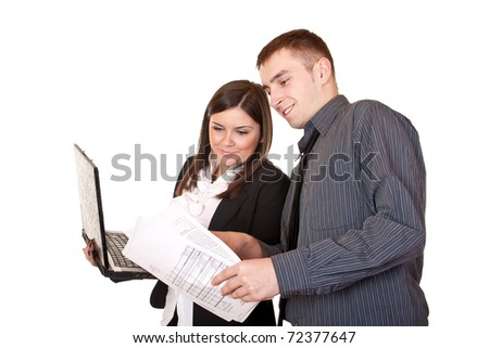 Two happy businesspeople working together  - isolated on white - stock photo
