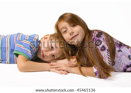 two happy children isolated on white background