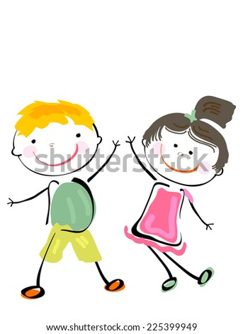 two happy children playing - stock photo