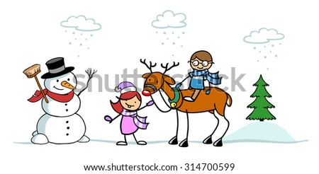 Two happy children playing in snow in winter with snowman and reindeer - stock photo